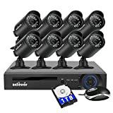 Zclever 8Ch 1080N AHD Night Vision CCTV Security Camera System Surveillance DVR Kits with HDD