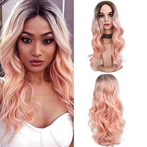 (Peigen Women's Gradient Wig Women's Silky Long Light Black Gold Curly Hair Wig Pink Water Wave Curly Long Hair Wigs Fashion Cosplay Party Middle Part Synthetic Heat Resistance)
