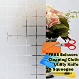 GRID Frosted Glass Film Static Cling Office Bedroom Bathroom Home Window Tint With Free Cutter, Scissors & Squeegee (48'' x 24'' (4ft x 2ft))