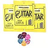 Legato Acoustic Guitar Strings Set (3 Pack) Phosphor Bronze 75/25 Normal Light 11-52 with 6 Assorted Picks Bundle for Acoustic and Electric Acoustic Guitars