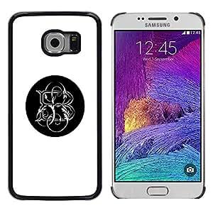 Caucho caso de Shell duro de la cubierta de accesorios de protección BY RAYDREAMMM - Samsung Galaxy S6 EDGE SM-G925 - Black Letter Initials