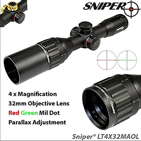 Sniper Compact Rifle Scope 4X32 with Ocular and Parallax Adjustment (Front AO), 2