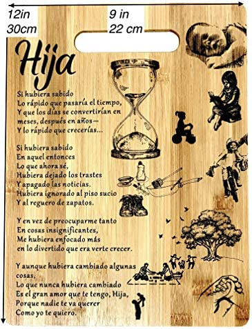 Amazon Com Regalo Para Hija Tabla De Cortar De Bambu Grabada 22 X 30 Cm Gift For Daughter In Spanish Engraved Bamboo Cutting Board 9 X12 Kitchen Dining In spanish, you generally place negative words before the conjugated verb: amazon com