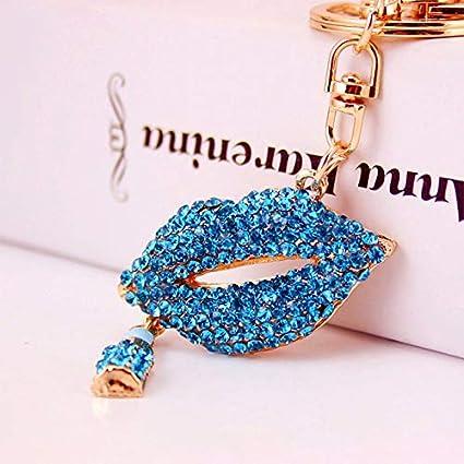 Amazon.com: Rarido Rhinestone Keychain Lipstick Lip Cute ...