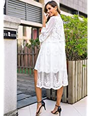 Lace Big Swing Water-Soluble Embroidered Dress Swimsuit with Cardigan and Beach Blouse Sunscreen- Free Size