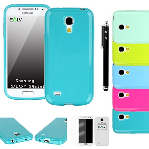 Galaxy S4 Mini Case, E LV Galaxy S4 Mini Case Cover Soft Slim Fit Soft Rubber TPU Shock-Absorption Case Cover for Samsung Galaxy S4 Mini i9190 with Stylus, Screen Protector, Cleaning Cloth - Turquoise