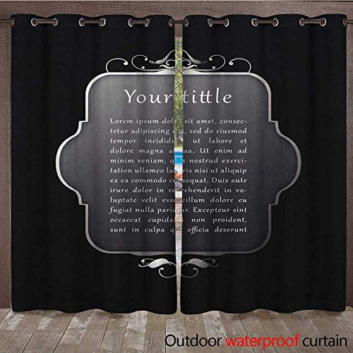 RenteriaDecor Outdoor Ultraviolet Protective Curtains Mirror Textbox W96 x L108