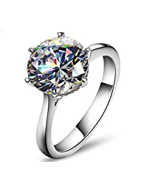 TenFit Jewelry Elegant 4ct Round Cushion Cut Solitaire Halo Diamond Wedding Engagement Ring