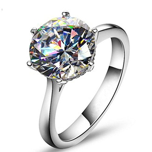 TenFit Jewelry Elegant 4ct Round Cushion Cut Solitaire - Round Silver Diamond Ring