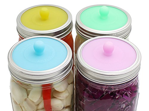AMZUShome Fermentation Lids - Silicone Waterless Airlock Fermenting Lids For Wide Mouth Mason Jars,For Vegetables,Sauerkraut,Kimchi,BPA free,Mold free,Dishwasher safe.(4 Pack)