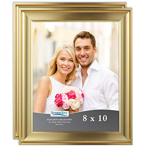 Icona Bay 8x10 Picture Frame (2 Pack, Gold), Gold Photo Frame 8 x 10, Wall Mount or Table Top, Set of 2 Elegante Collection ()