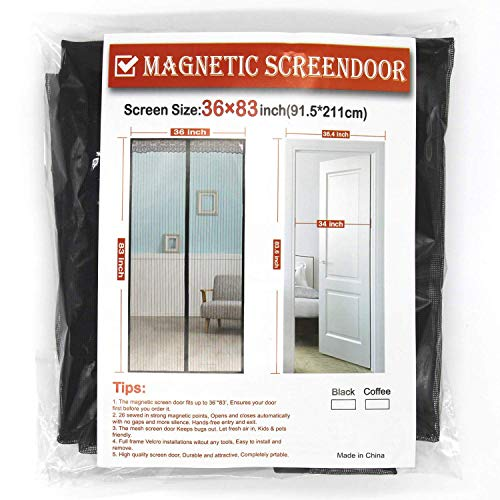 (Magnetic Screen Door, Fiber Screen Heavy Duty mesh Door Screen and Full Frame Hook & Loop Fits Door Size up to 36