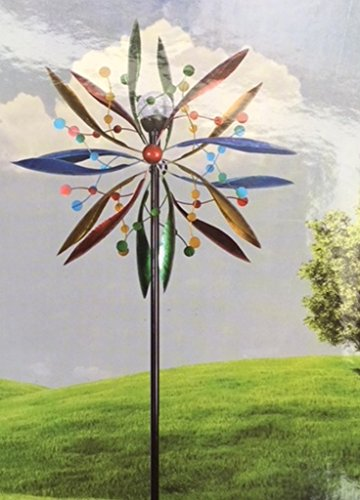 msimports 7' Kinetic Windmill Garden Art Spinner Solar Spectrum