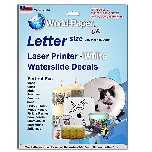 - Laser Waterslide Decal Paper WHITE 5 Sheets Package