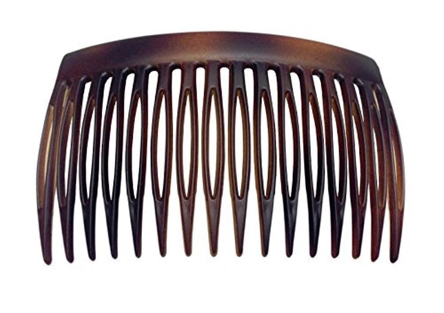 高齢者フレッシュ素晴らしさParcelona French 2 Pieces Matte Finish Celluloid Shell Good Grip 16 Teeth Hair Side Combs -2.75 Inch (2 Pcs) [並行輸入品]