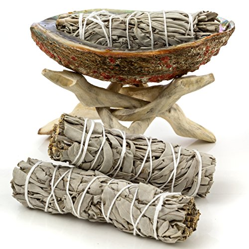 "Alternative Imagination Premium Abalone Shell with Natural Wooden Tripod Stand and 3 California White Sage Smudge Sticks (5-6"" Shell)"
