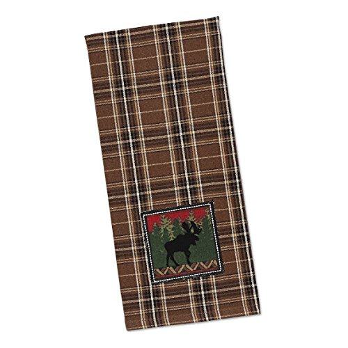 Moose Embroidered Plaid Kitchen Dish Towel