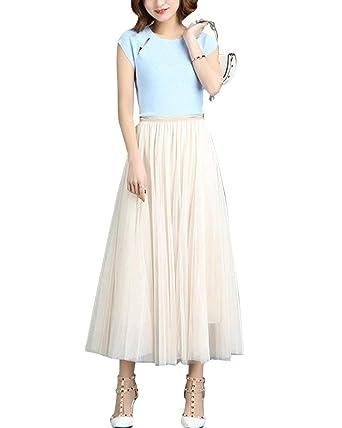 Mujeres Coreanas Gasa Boho Plisado Retro Maxi Falda Larga Mode De ...