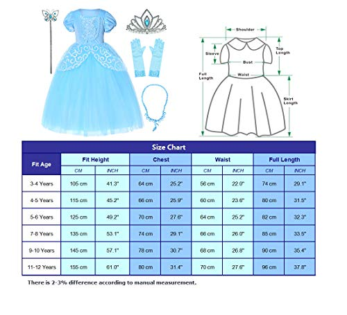 9-layers Tulle Skirt Princess Cinderella Costume Girls Dress Up With Accessories 5T 6T by Party Chili (Image #7)