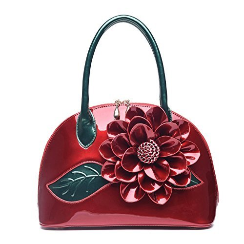 KAXIDY Ladies Handbags Flower Patent Leather Shoulder Bag Handbag Messenger Bags ()