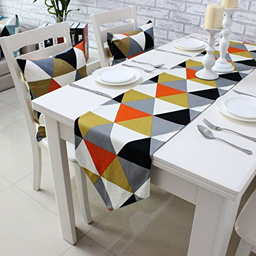 Uphome Modern Geometric Triangle Pattern Table Runner - Cotton Canvas Fabric Table Top Decoration Home Decor (12
