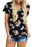 Women Short Sleeve V-Neck Floral Printed Flower Blouse Casual Loose Tops T Shirt Medium Size Black