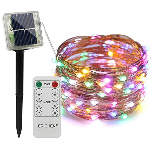 BATOP Remote Control Solar Powered led String Lights, 20/30/50m 200/300/500 LEDs Copper Wire Waterproof 8 Modes Fairy Lights for Xmas