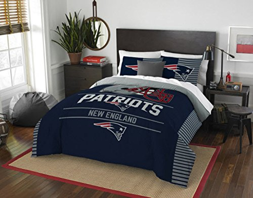New England Patriots Comforter Set Bedding Shams NFL 3 Piece Full-Queen Size 1 Comforter 2 Shams Football Linen Applique Bedroom Decor (New England Patriots Pillowcase)