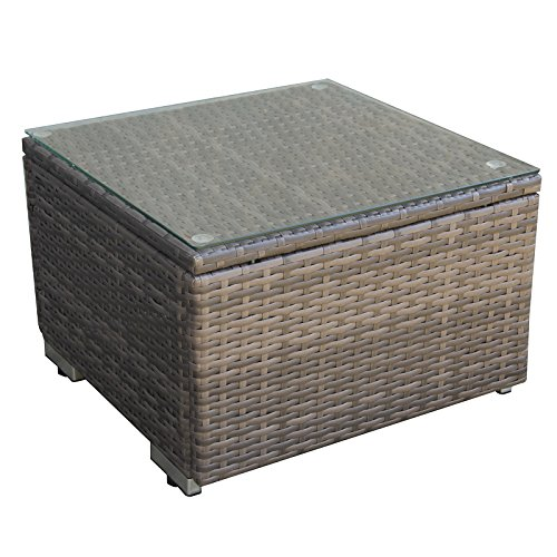 Cheap Caymus Outdoor Patio Rattan Wicker Lounge Side Table with Glass