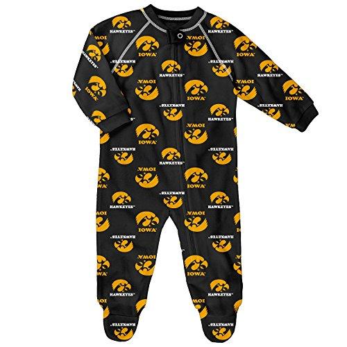 NCAA Iowa Hawkeyes Raglan Zip Up Coverall, Black, 6-9 Months (Iowa Hawkeye Baby Clothes)