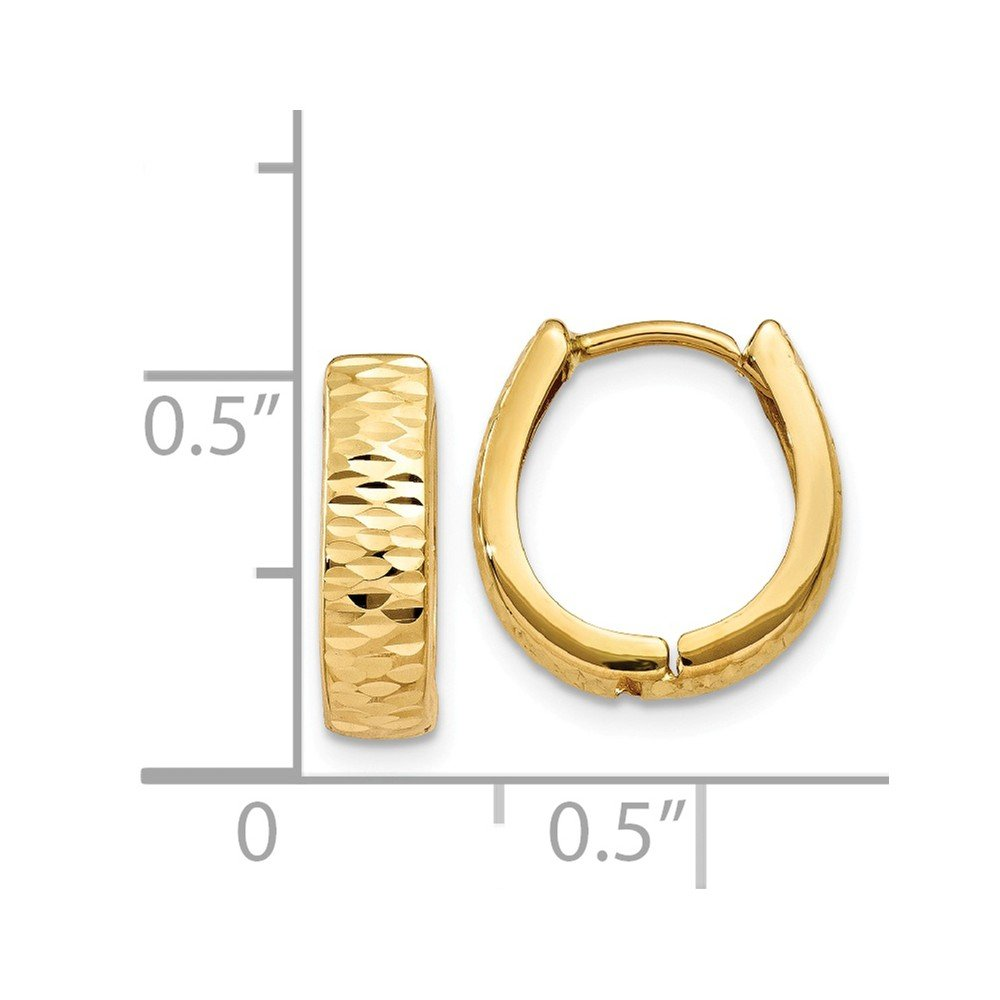 Mia Diamonds 14k Yellow Gold Gold Textured and Polished Hinged Hoop Earrings