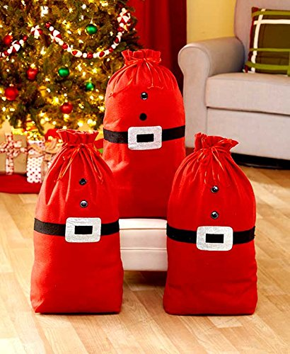 Costumes Australia Next Day Delivery (Santa's Gift Sack Bag Christmas Gifts Presents Bag (1) Christmas Gift Sack Santa Clause Gift Bag with drawstring)
