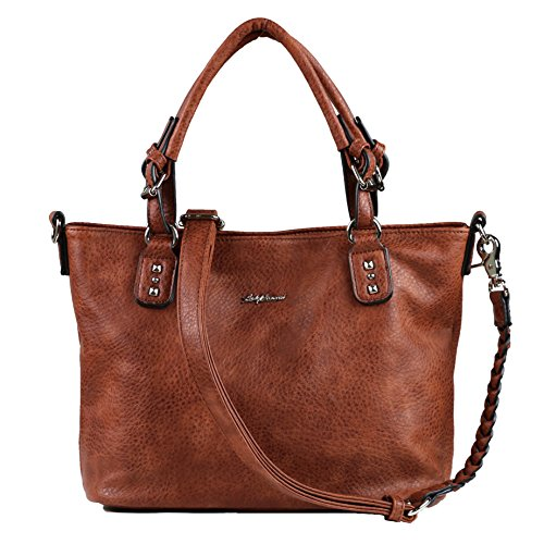 - Concealed Carry Purse - YKK Locking Ella Braided Concealed Weapon Tote by Lady Conceal (Mahogany)
