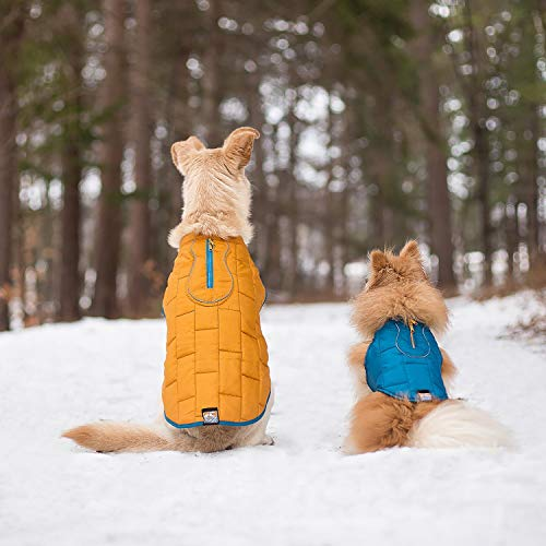 Image of Kurgo Loft Jacket, Reversible Dog Coat, Dog Coat for Cold Weather, Water-Resistant Dog Jacket with Reflective Trim, Blue/Orange, Medium