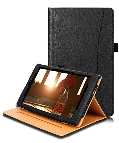 All-New Amazon Kindle Fire HD 8 Case(7th Generation,2017 Release),SKYLMW Folio Leather Case Full-Body Anti-Slip Protective Case for Fire HD 8 Tablet with Stand,Document/Card Pocket,Pen Holder,Black