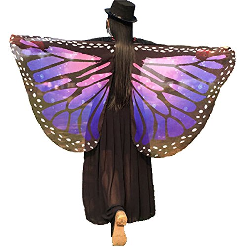 Soft Fabric Butterfly Wings Shawl Fairy Ladies Nymph Pixie Costume Accessory((Purple) 14665 cm (57