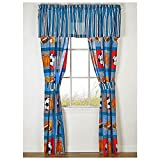 Boys SPORTS PATCH Football Baseball Basketball Soccer Ball Blue Window Treatment Drapery Set (4 Pieces)VALANCE NOT INCLUDED (Drapes – 2-Panels w/2-Tiebacks 42″ ea. = 84″ x 84″) Review
