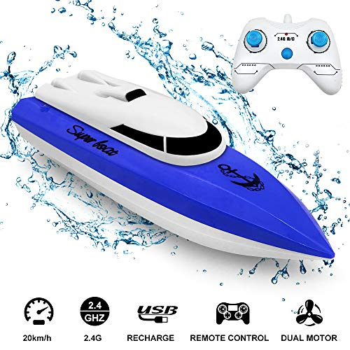 Best Electric RC Boat 2.4GHz, econoLED 2020 Upgrade Remote Control Boat,High Speed Remote Control Racing Boat Toys for Pools and Lakes with Extra Battery - Best Gifts for Adults Kids Boys Girls (Blue)