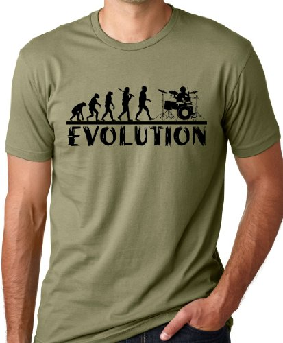 Think Out Loud Apparel Drummer Evolution Funny T-Shirt Drums Humor Tee Olive XL