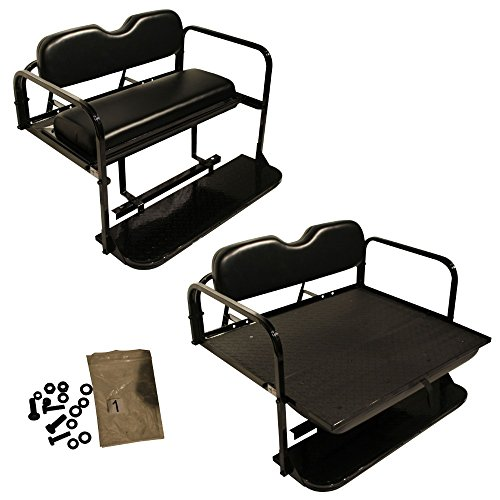 EZGO TXT Golf Cart Rear Flip Folding Back Seat Kit, 1995 And Up - All Factory Colors (Black Cushions)