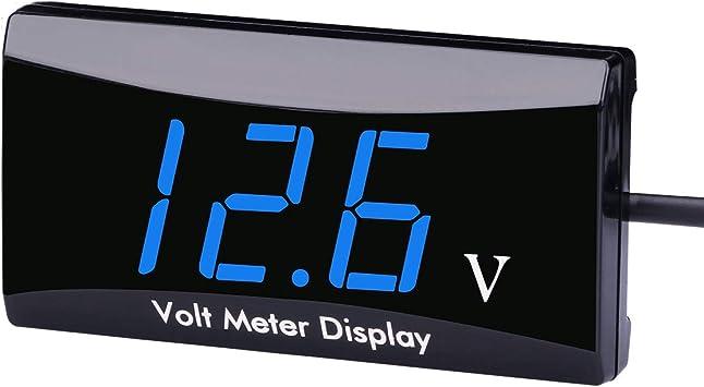 Aimilar Dc 12 Volt Messgerät 12 V Digital Spannungsanzeige Meter Tester Voltmeter Für Auto Motorrad Blau Baumarkt