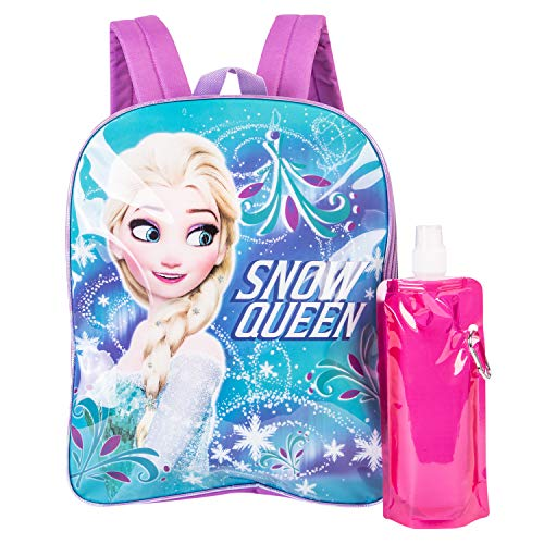 Disney's Frozen Backpack Combo Set - Disney Frozen Girls' 3 Piece Backpack Set - Backpack, Waterbottle and Carabina (Teal/Pink)