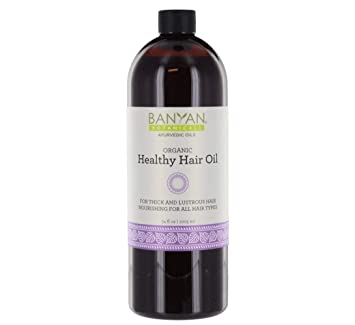 Amazon Com Banyan Botanicals Healthy Hair Oil Organic Herbal Oil With Bhringaraj Amla Ayurvedic Hair Care For Strong Thick Lustrous Hair For Scalp Massage 34oz Non Gmo