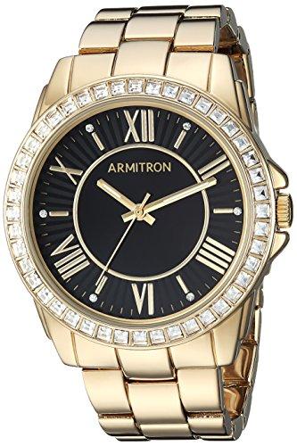 Armitron Women's 75/5592BKGP Swarovski Crystal Accented Gold-Tone Bracelet Watch