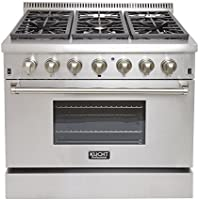 Kucht KRD366F Professional 36 5.2 cu. ft. Dual Fuel Range for Natural Gas, Stainless-Steel