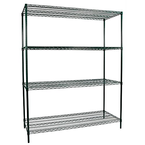 Apollo Hardware Commercial Grade Green Epoxy 4-Shelf NSF Wire Shelving Rack, 24