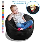 Stuffed Animal Bean Bag Storage Chair in Black - 2.5ft Large Fill & Chill Space Saving Toy Organizer for Children - for Blankets, Teddy Bears, Clothes & Bedding
