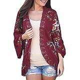 XOWRTE Cardigan for Women Long Sleeve Outerwear Loose Kimono Blouse Jacket Autumn Winter Lace Floral Open Cape Coat