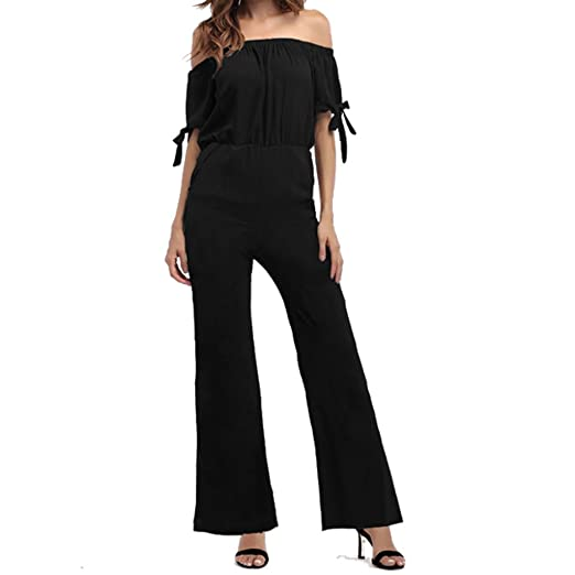 1f99738c94a8 Amazon.com  INIBUD Jumpsuits for Women Sleeve Tie Off Shoulder Wide Leg  Chiffon Long Pants Romper (Black