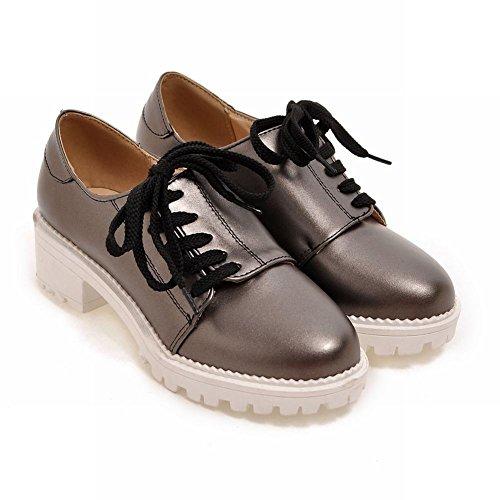 Chic Shoes Latasa Slate Heels Gray Oxford up Womens Chunky Lace OxgUq